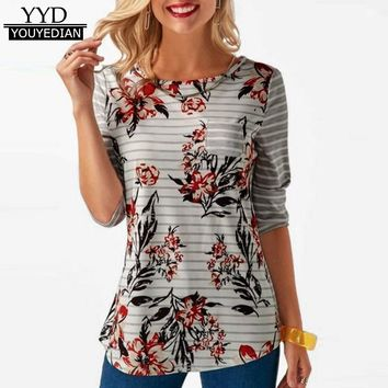 Women Spring Autumn Floral Print T-shirt Women Long Sleeve Button Back Pocket Tops For Women T Shirt Camisetas Mujer *1212