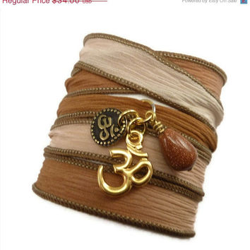 Silk Wrap Bracelet with Om Charms, yoga jewelry, silk ribbon bracelet bracelet,yoga bracelet, Om jewelry