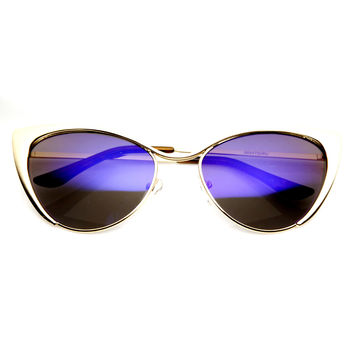Women's Metal Cat Eye Flash Color Lens Sunglasses 9437