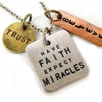 'Have Faith, Expect Miracles' Vintage-Style Pendant Necklace