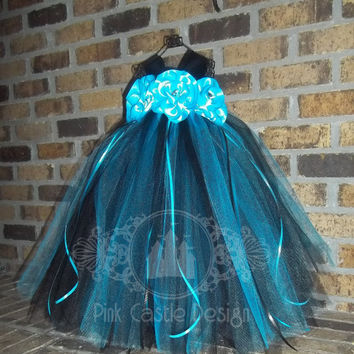 Made to Order - Turquoise Black Tutu Dress - Pageants, Holidays, Birthdays, Baby - Toddler - Girl - FREE shipping