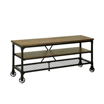 """Industrial Style 54"""" TV Stand And Entertainment Center Of Wood And Metal, Brown and Black"""