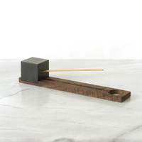 Lonewa Incense Burner No. 1 - Black Cube with Walnut Base