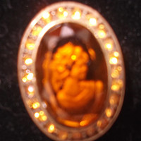Unusual vintage goldtone and amber glass cameo brooch pin. Ideal gift for , birthday, anniversary