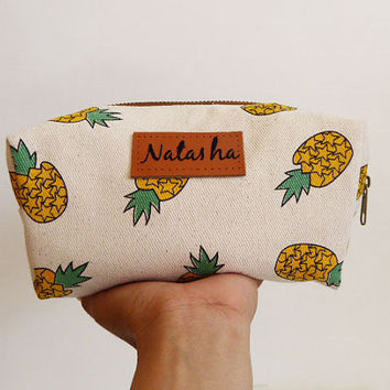 Monogram Bags, Pineapple pencil bag,pencil case,zipper pouch,Back to School,Makeup Bags,Cosmetic Bags,gift for women,mom,teen gift
