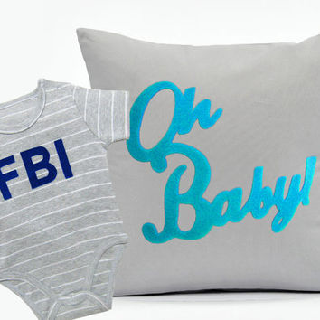 Grey Baby Boys Gift Set. Oh Baby Light Grey Nursery Pillow Cover. FBI Stripes Boys Onesuit. Modern Quirky Typography Baby Shower Gift Set