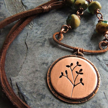 Nature Necklace, Copper Tree Necklace, Botanical Necklace, Organic, Rustic, Spring, Summer, Woodland, Forest, Green