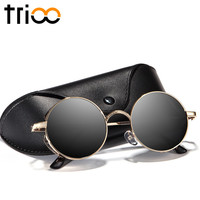 TRIOO Polarized Male Sunglasses Cool Carving  Anti-Glare Driving Sun Glasses For Men Fashion Round Steampunk Shades With Box