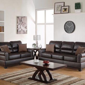 Bonded Leather 2 Pieces Sofa Set With Pillows In Brown