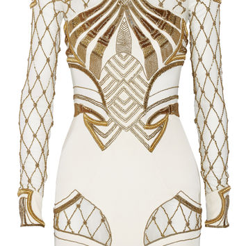 Sass & bide - The Royal One embellished mesh-paneled stretch-silk mini dress