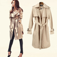 Women Long Trench Coats 2016 Spring Autumn Blends Casual Loose Coat Gabardina Mujer Slim Trench Coat Outwear Plus Size With Belt