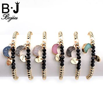 BOJIU Love Pendant Bracelet Multi-Color Natural Druzy Stone Elastic Gold-Color Copper Beads Women's Bracelet Jewelry BC177