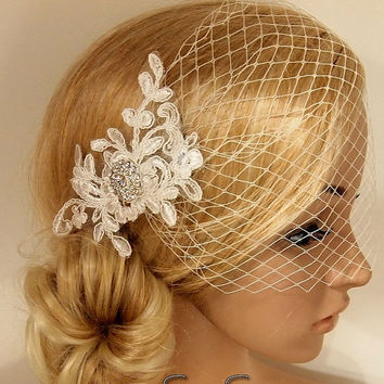 SALE 40% OFF Bridal Veil, Wedding Veil, Bridal Comb, Face Veil, Birdcage Veil, mini veil, Blusher veil, lace Flower Fascinator, Head piece