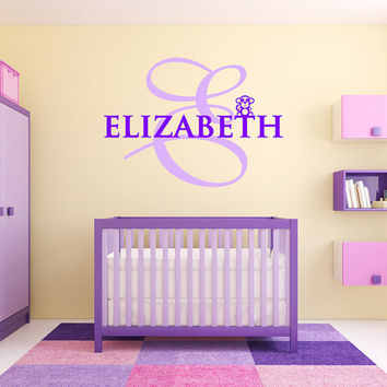 "Monkey Monogram Wall Decal Name Girls and Boys Nursery Room Vinyl Wall Decal Graphics 20""x14"" Bedroom Decor"