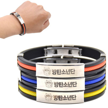 1 piece Hot KPOP Male Group BTS Titanium Steel Pendant Silicone Bracelet Bangtan Boys Fans Support Rubber Wristband
