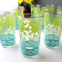 Vintage Drinking Glasses / Anchor Hocking / Set of Eight / Turquoise, Yellow, Green Snowflake Flower Design