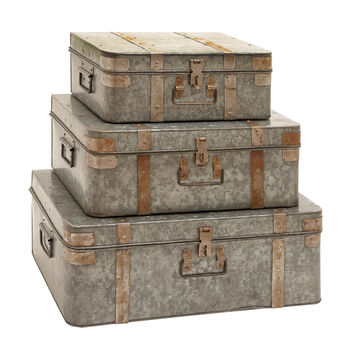Metal Galvanized Trunks with Mixed Style Set of 3