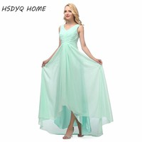In stock Long Bridesmaid Dresses real photo cheap Bridesmaid Dresses V-neck Chiffon Empire 2017