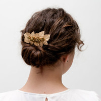 Saint Andrews - Floral Headpiece with golden flowers and leaves