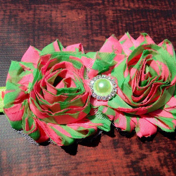 Watermelon Frayed Flower headband, pink and green shabby flower headband, Girls headband, Chiffon Flower Headband, baby headband