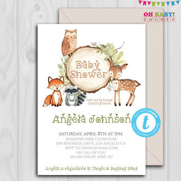 Woodland Baby Shower Invitation, Woodland Invitation Boy, Woodland Invitation Template, Woodland Animals, Woodland Theme, Printable, WD02