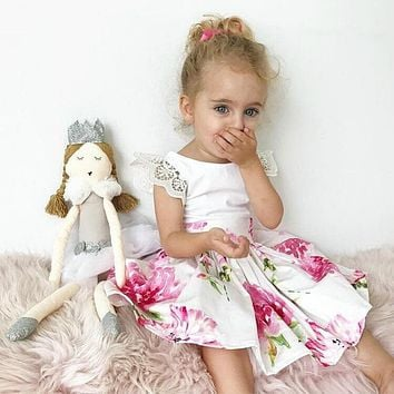 2017 Pudcoco Kids Baby Girl Fashion Beauty Flower Dress Summer Princess Lace PatchWork Tulle Tutu Backless Formal Party Dresses