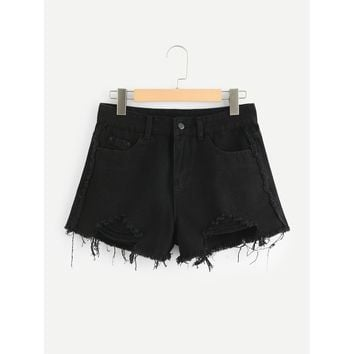 Black Regular Mid Waist Denim Shorts