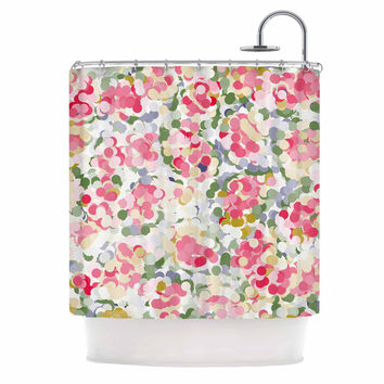 "Matthias Hennig ""Soft Dots"" Pink Floral Shower Curtain"