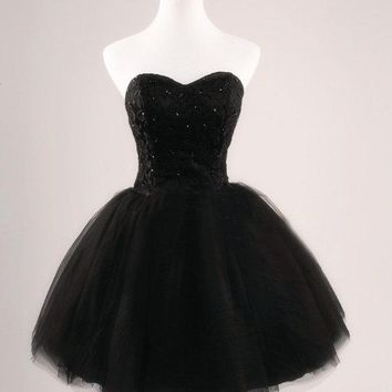Little Black Strapless Homecoming Dress Free Fast Shipping