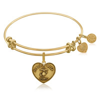 Expandable Bangle in Yellow Tone Brass with U.S. Marine Corps Proud Wife Symbol