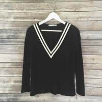 Varsity Light Weight Sweater (Black)