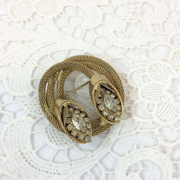 Kramer Gold Mesh & Rhinestone Brooch, Marquise and Square Clear Crystal Eyes, Coiled Circle Mid Century Goldtone Vintage Fashion Jewelry