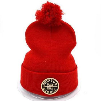Brixton Women Men Embroidery Beanies Warm Knit Hat Cap-4