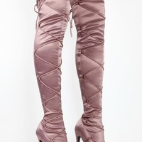 Laura Light Purple Lace Up Cinch Thigh High Open Toe High Heel Boots 6.5-11