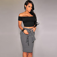 Black Stripe Fastening High Waist Bodycon Pencil Midi Skirt with Belt for Women