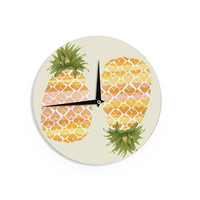 """Judith Loske """"Happy Pineapples """" Yellow Gold Wall Clock"""