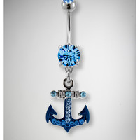 14 Gauge Blue Cubic Zirconia Anchor Banana
