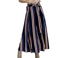 Hot Sale Pants Casual Women Loose Fit Bow Tie Striped Print Wide Pants Fashion High Side Slit Drawstring Trousers