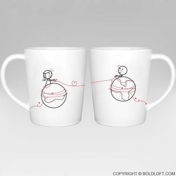 You're Worth Every Mile™ Couple Coffee Mugs, Long Distance Relationship Gifts for Couples,Cute Valentines Gifts for Him or Her,Romantic Anniversary Gifts
