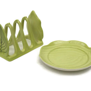 Carlton Ware Toast Rack and Butter Pat Dish. Ceramic Leaf Toast Rack and Butter Dish. Breakfast Set.