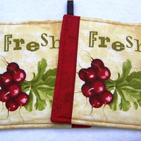 Set of Two Pot Holders featuring a Fresh bunch of Red Radishes