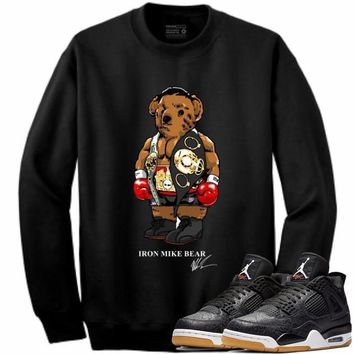 Jordan Retro 4 Black Laser Gum Crewneck Sweater - IRON MIKE BEAR STWOD