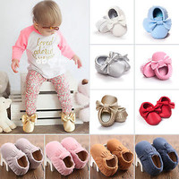 Baby Tassel Sole Suede/Leather Grib Shoes Infant Boy Girl Moccasin Toddler 0-18M