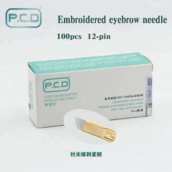 100 pcs PCD 12 Pin Permanent Makeup Eyebrow Tatoo Blade Microblading Needles For 3D Embroidery Manual Tattoo Pen Ma
