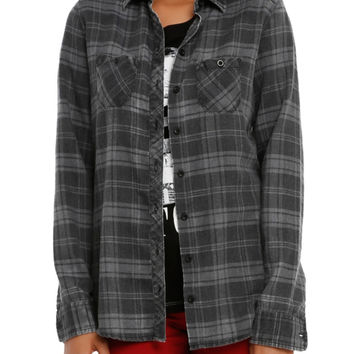 Black Grey Plaid Stud Girls Woven Top