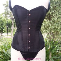 Black Sexy Satin Boned Lace Up Back Top Tummy Cincher Overbust Corset New Bustiers