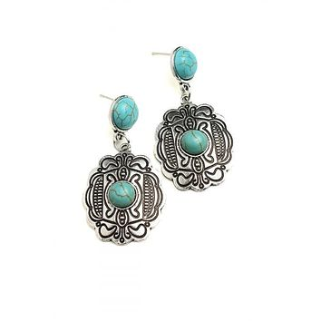 Concho Turquoise Western Cowgirl Native American Earrings
