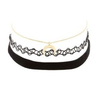 Gold Tattoo & Velvet Choker Necklaces - 3 Pack by Charlotte Russe