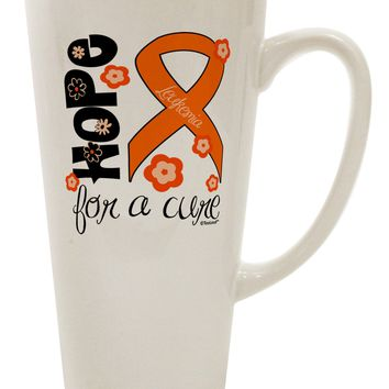 Hope for a Cure - Orange Ribbon Leukemia - Flowers 16 Ounce Conical Latte Coffee Mug