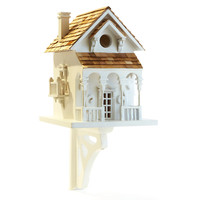"11"" Honeymoon Cottage Birdhouse, White, Feeders, Houses & Bird Baths"